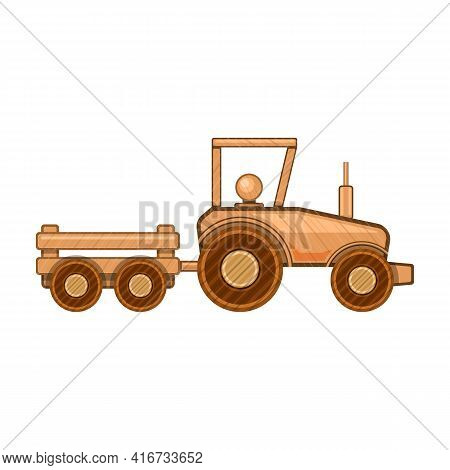 Wooden Tractor Vector Icon.cartoon Vector Icon Isolated On White Background Wooden Tractor.