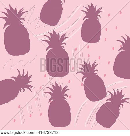 Pineapple Vector Seamless Pattern For Textile, Scrapbooking Or Wrapping Paper. Pineapples Silhouette
