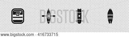 Set First Aid Kit, Kayak Or Canoe, Longboard Skateboard And Surfboard Icon. Vector