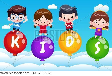 Illustration Vector Graphic Of 4 Happy Kids On Flying Balloon In The Sky. Perfect For Children Book