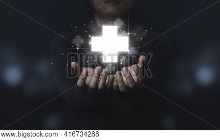 Businessman Holding Virtual Plus Sign Which It Mean Positive Sign Such As More Benefit Thinking And