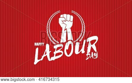 Happy Labour Day Vector Label With Strong Orange Fist Isolated On Red Horizontal Background. Vector