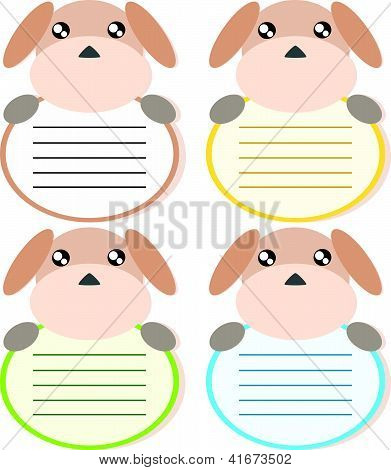 Cartoon dog memo or note cute concept illstration poster