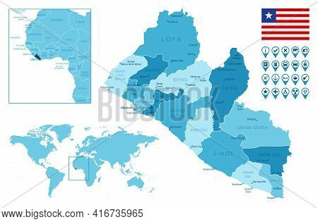 Liberia Detailed Administrative Blue Map With Country Flag And Location On The World Map. Vector Ill