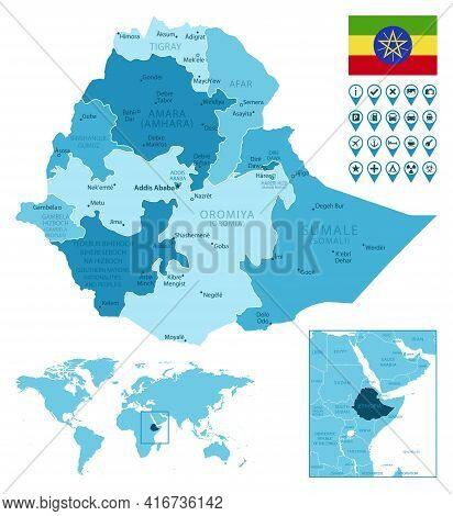 Ethiopia Detailed Administrative Blue Map With Country Flag And Location On The World Map. Vector Il
