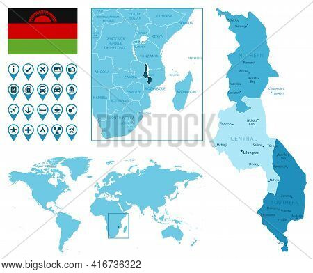 Malawi Detailed Administrative Blue Map With Country Flag And Location On The World Map. Vector Illu