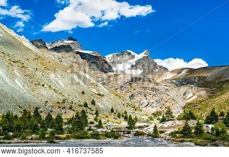 View Of The Swiss Alps With The Findelbach Near Zermatt