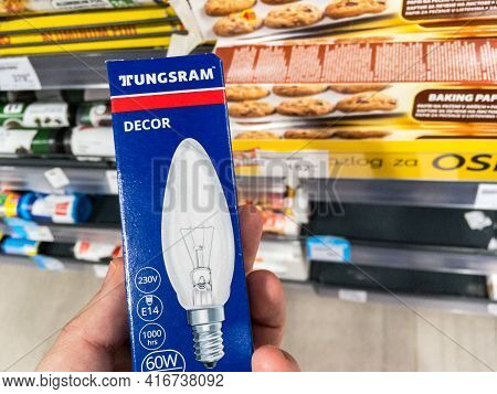 Belgrade, Serbia - April 5, 2021: Logo Of Tungsram On Incandescent Filament Light Bulbs For Sale. Tu