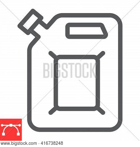 Jerrycan Line Icon, Fuel Gallon And Gas Can, Gasoline Canister Vector Icon, Vector Graphics, Editabl