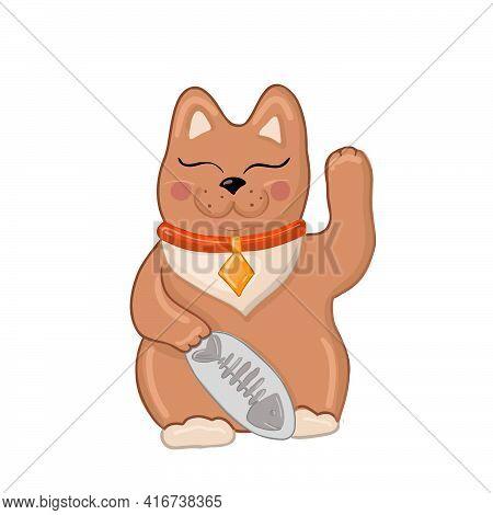 Maneki Neko Icon. Japan Lucky Cat. Clipart Image