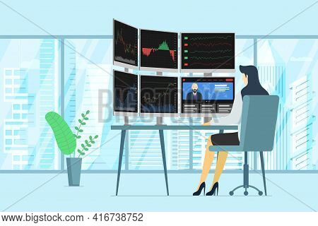 Stock Market Female Trader In Office Looking At Multiple Computer Screens With Financial Charts, Dia