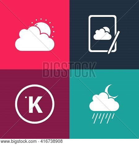 Set Pop Art Cloud With Rain And Moon, Kelvin, Weather Forecast And Sun Cloud Weather Icon. Vector