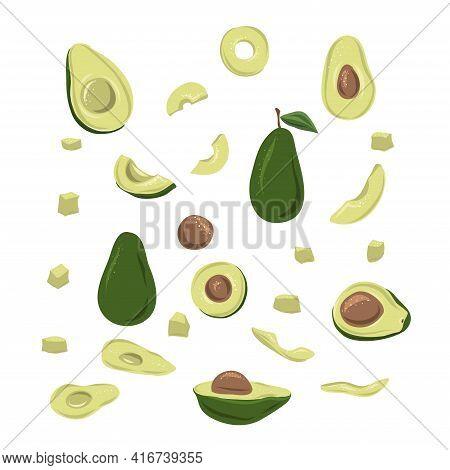 Vector Set Of Hand Drawn Avocado. Food Hand Drawn Vector Illustration. Design For Packaging, Wedding