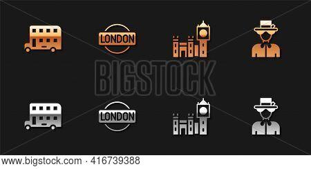 Set Double Decker Bus, London Sign, Big Ben Tower And Queen Elizabeth Icon. Vector