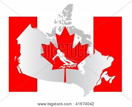 Canadian flag with a skier silhouette