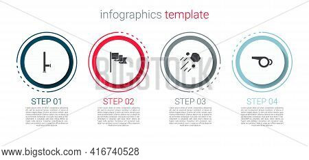 Set Police Rubber Baton, Location Marker, Flying Stone And Whistle. Business Infographic Template. V