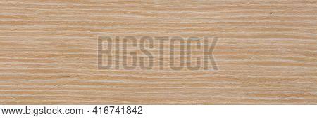 Elegant Natural Oak Veneer Background In Light Beige Color. Natural Wood Texture, Pattern Of A Long