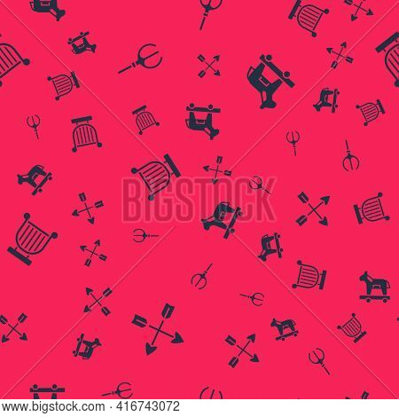 Set Crossed Arrows, Neptune Trident, Ancient Lyre And Trojan Horse On Seamless Pattern. Vector