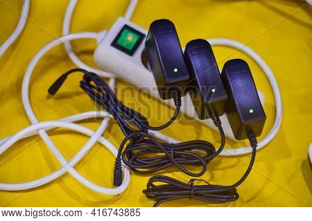 Power Plug In Full , Power Outlet Multiple Socket, Overload Charger Extension Cord Cable Connector.