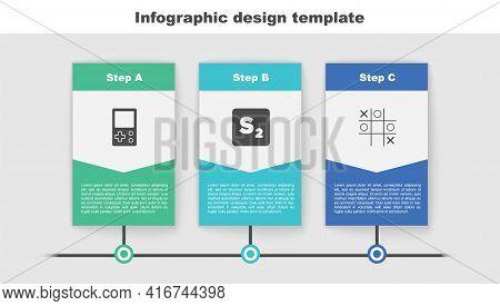 Set Tetris, Bingo And Tic Tac Toe Game. Business Infographic Template. Vector