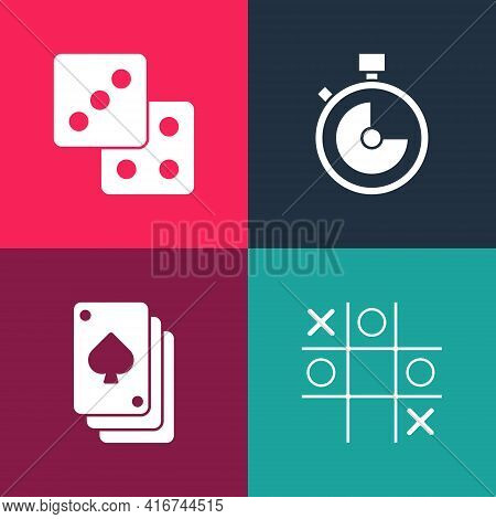 Set Pop Art Tic Tac Toe Game, Playing Cards, Stopwatch And Game Dice Icon. Vector