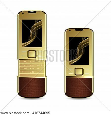 Realistic Vector Luxurious And Glamorous Golden Mobile Phone. Elegant Mobile Handset Gold Plating. C