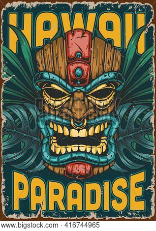 Hawaii Surfing Colorful Vintage Poster With Wooden Tiki Mask Palm And Monstera Leaves Vector Illustr