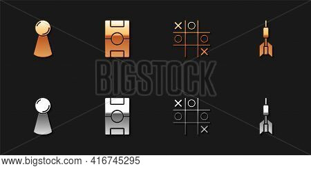 Set Chip For Board Game, Hockey Table, Tic Tac Toe And Dart Arrow Icon. Vector