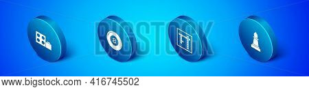 Set Isometric Toy Building Block Bricks, Bingo, Chess And Billiard Pool Snooker Ball Icon. Vector