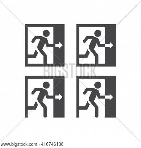 Exit Door With Man Running Vector Sign. Doorway Black Symbol.
