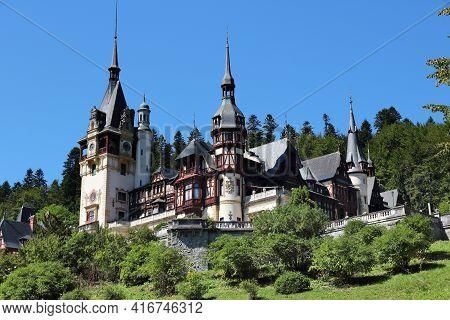 Peles Castle, Romania. Neo-renaissance Style Architecture. Fairytale Castle.