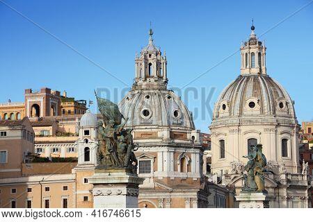 Rome Landmarks, Italy. Church Of Santa Maria Di Loreto And Nome Di Maria Church.