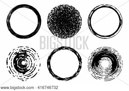 Circle Grunge Scratched Distressed Lable Background Set.