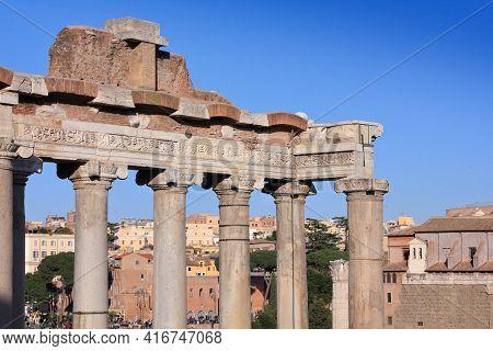 Roman Forum - Landmark Of Ancient Rome. Forum Romanum, Landmark In Rome, Italy.