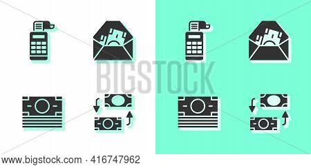 Set Money Exchange, Cash Register Machine, Stacks Paper Money Cash And Envelope With Dollar Symbol I
