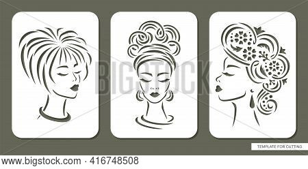 Set Of Stencils With Women Faces. Carved Panels With Beautiful Girls Heads, Full Face, Profile. Diff