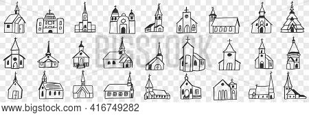 Church Facades With Towers Doodle Set. Collection Of Hand Drawn Various Facades Of Religious Churche