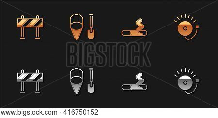 Set Road Barrier, Fire Shovel And Bucket, Cigarette And Ringing Alarm Bell Icon. Vector
