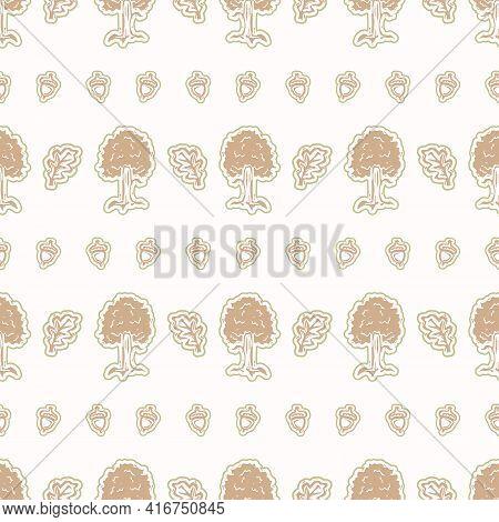 Seamless Minimalist Tree Blockprint Pattern Background. Calm Pale Tonal Pastel Color Wallpaper. Simp