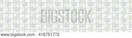Seamless Minimalist Blockprint Butterfly Border Pattern. Calm Tonal Pastel Color Edge Trim. Simple M