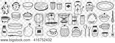 Tableware On Kitchen Doodle Set. Collection Of Hand Drawn Kitchen And Tableware Boards Pots Kettles