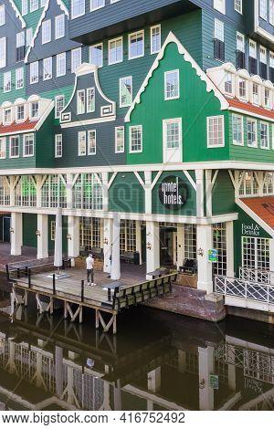 Zaandam, Netherlands - March 31, 2021: Hotel At The Water In The Center Of Zaandam, Netherlands