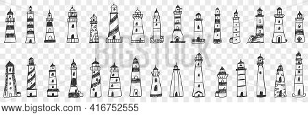 Lighthouse Buildings In Sea Doodle Set. Collection Of Hand Drawn Various Facades Of Lighthouse Build