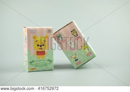 Bangkok, Thailand - April 13, 2021 : Winnie The Pooh Figures Mystery Box Blind Box Collection Is Ran