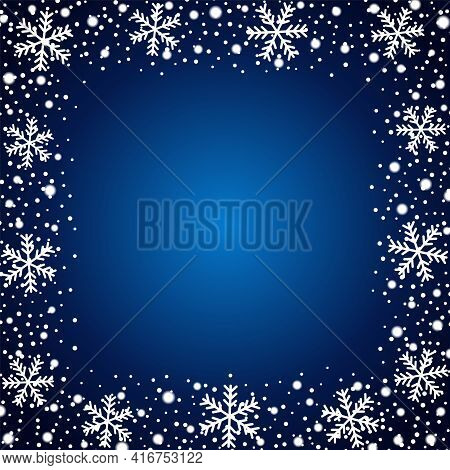 Snow Border Frost Frame. Christmas Texture, Isolated On Blue Background. Snowflake Abstract Effect.