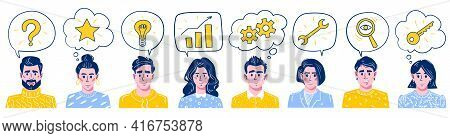 Smiling Business Figures With Question Mark, Light Bulb, Gears, Star, Wrench, Gears, Wrench, Magnify