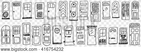 Doors Of Various Styles Doodle Set. Collection Of Hand Drawn Various Doors For Interiors Or Building