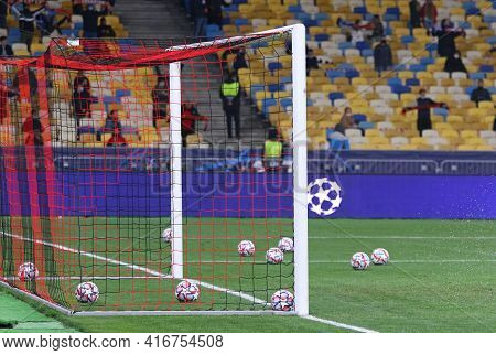 Kyiv, Ukraine - October 27, 2020: Official Uefa Champions League Matchballs In The Goal Before The U