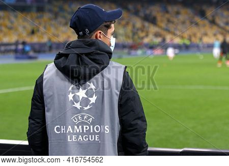 Kyiv, Ukraine - October 27, 2020: Unidentified Young Ballboy In Training Bib With Uefa Champions Lea