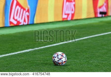 Kyiv, Ukraine - October 27, 2020: Official Uefa Champions League Match Ball On The Grass Seen During